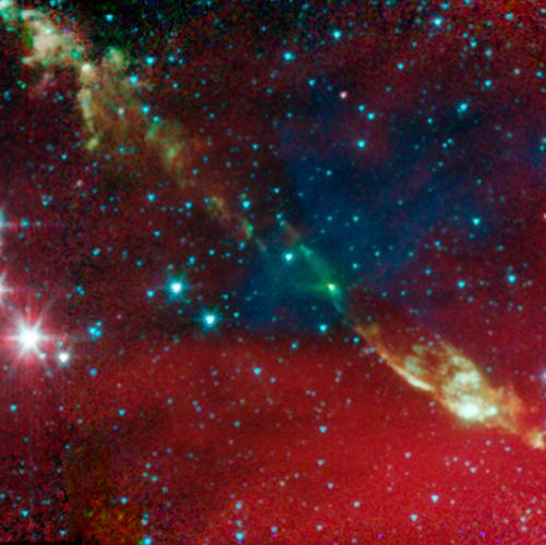 This image is one of six images taken by NASA's Spitzer Space Telescope, showing that tight-knit twin, or binary stars might be triggered to form by asymmetrical envelopes.