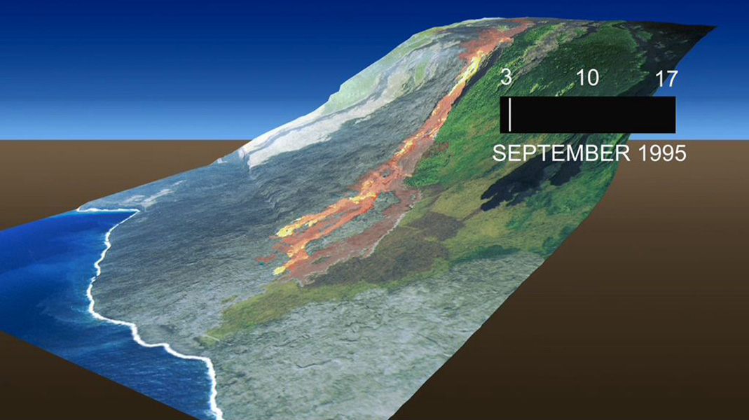 This frame from an animation, which depicts the growth of the Kamoamoa Flow Field, Kilauea Volcano, Hawaii, was generated from a sequence of ten multispectral images acquired between September 3 and 17, 1995.