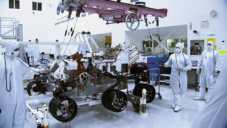 In this picture, the Curiosity rover sports a set of six new wheels. The wheels were installed on June 28 and 29 in the Spacecraft Assembly Facility at NASA's Jet Propulsion Laboratory, Pasadena, Calif.