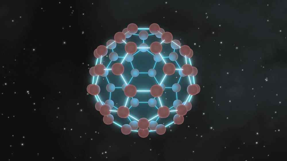 This image illustrates that buckyballs -- discovered in space by NASA's Spitzer Space Telescope -- closely resemble old fashioned, black-and-white soccer balls, only on much smaller scales.