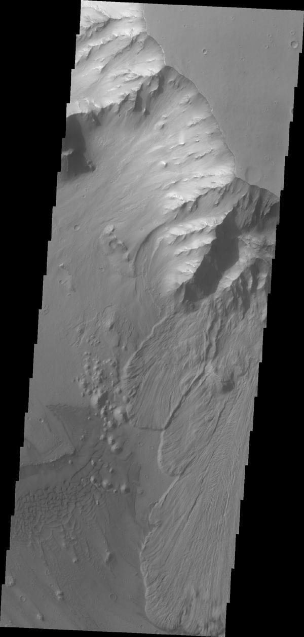 This image from NASA's Mars Odyssey shows multiple landslide deposits within Ganges Chasma.