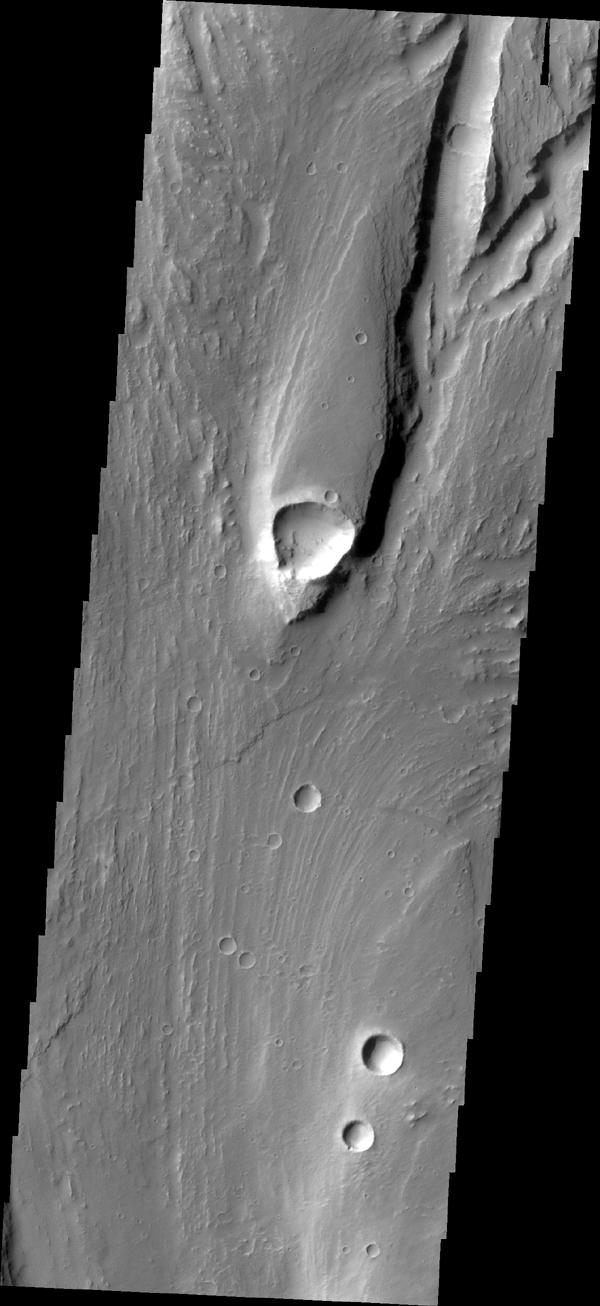 This streamlined island is located within Maja Valles was captured by NASA's Mars Odyssey on July 1, 2010.