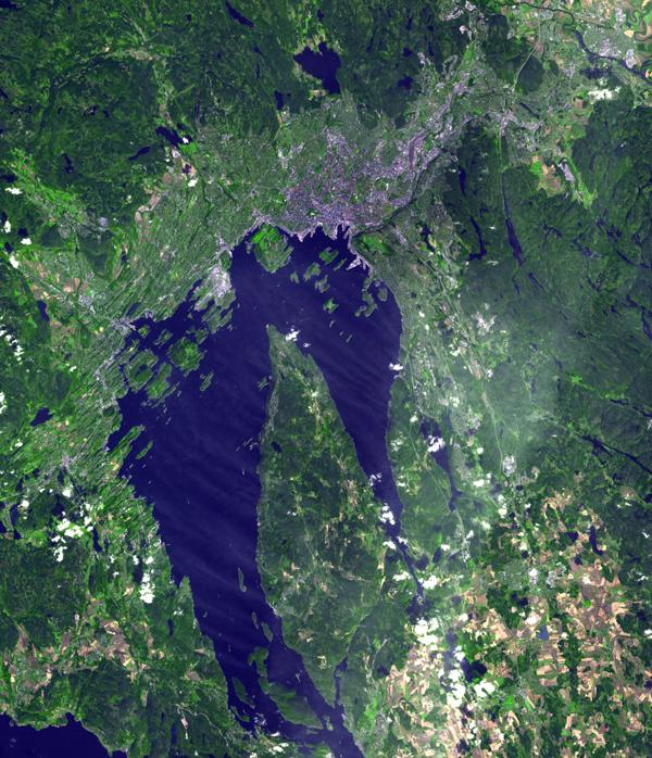 Oslo, the capital and largest city in Norway, as seen by the Advanced Spaceborne Thermal Emission and Reflection Radiometer instrument aboard NASA's Terra spacecraft.