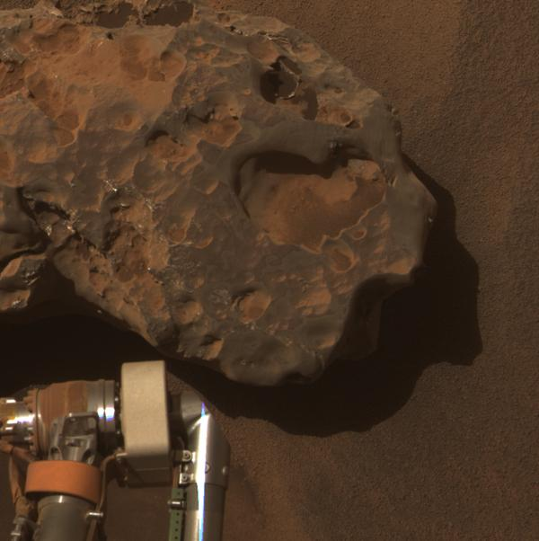 NASA's Mars Exploration Rover Opportunity found and examined this meteorite. The science team used two tools on Opportunity's arm, the microscopic imager and the alpha particle X-ray spectrometer, to inspect the rock's texture and composition.