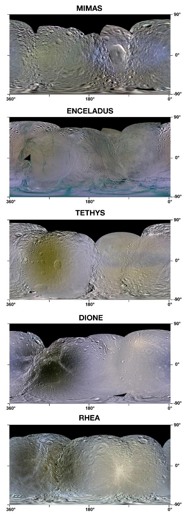 This set of enhanced-color maps made from data obtained by NASA's Cassini spacecraft show Saturn's moons Mimas, Enceladus, Tethys, Dione and Rhea.
