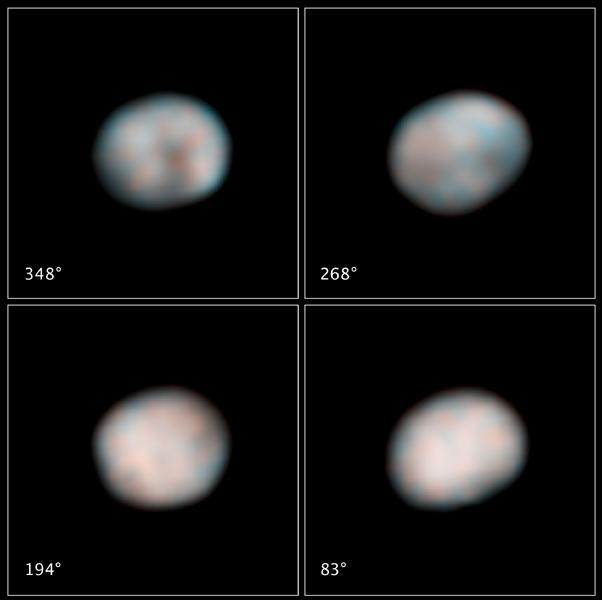 NASA's Hubble Space Telescope snapped these images of the asteroid Vesta in preparation for the Dawn spacecraft's visit in 2011. The images show the difference in brightness and color on the asteroid's surface.