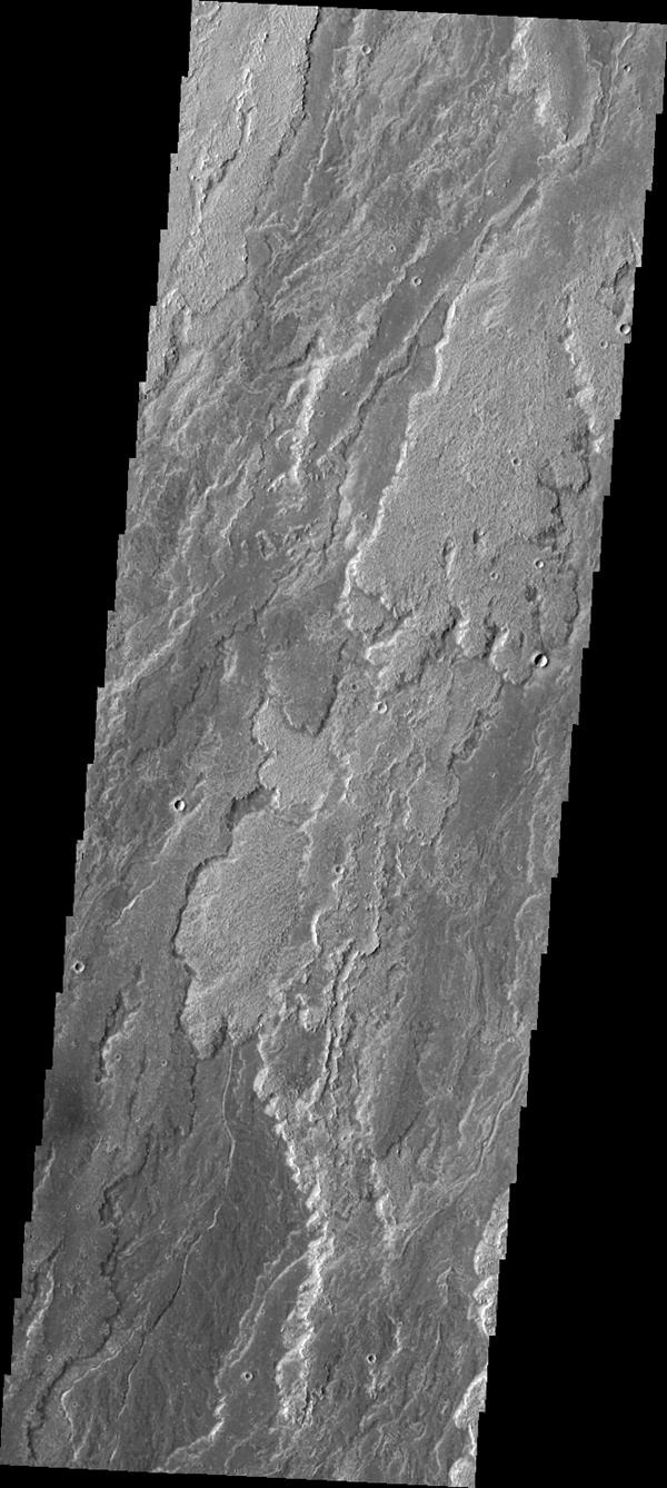 Daedalia Planum was created by extensive lava flows from Arsia Mons. This image from NASA's Mars Odyssey shows a small portion of those flows.