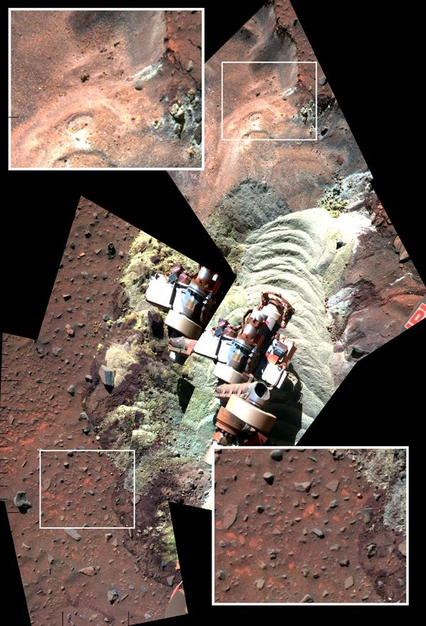 This mosaic of images shows the soil in front of NASA's Mars Exploration Rover Spirit after a series of short backward drives during attempts to extricate the rover from a sand trap in January and early February 2010.