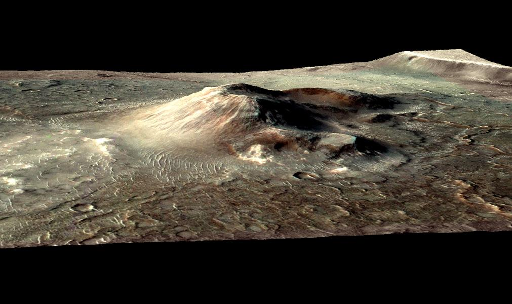 This false color image from NASA's Mars Reconnaissance Orbiter indicates that the volcanic cone in the Nili Patera caldera on Mars has hydrothermal mineral deposits on the southern flanks and nearby terrains.
