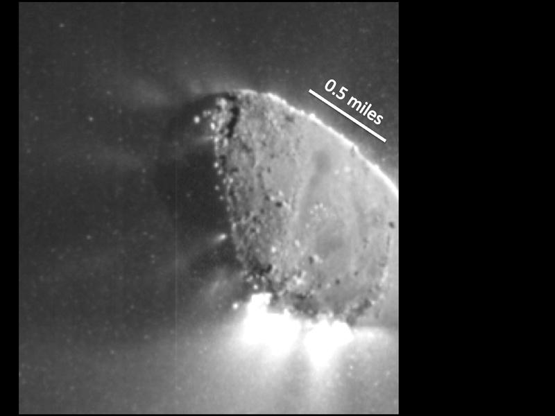 This enhanced image, one of the closest taken of comet Harley 2 by NASA's EPOXI mission, shows jets and where they originate from the surface. There are jets outgassing from the sunward side, the night side, and along the terminator.
