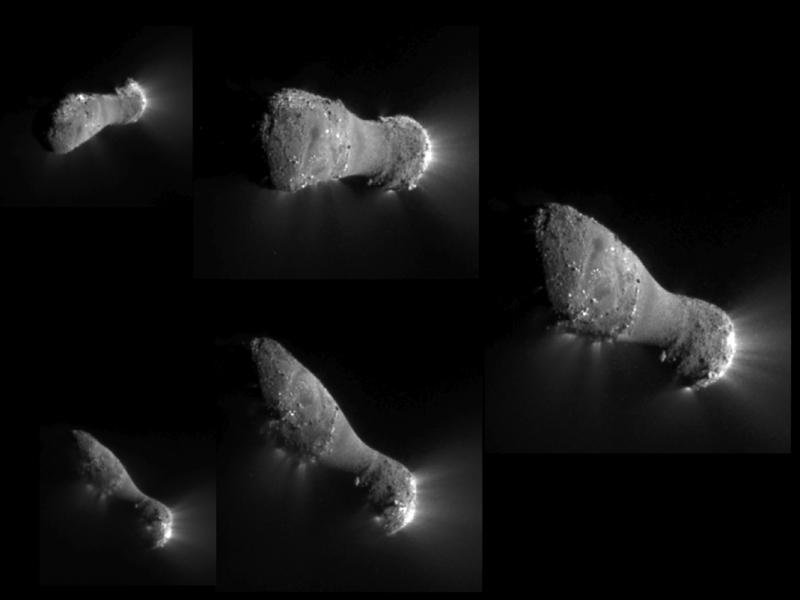 This image montage shows comet Hartley 2 as NASA's EPOXI mission approached and flew under the comet. The images progress in time clockwise, starting at the top left.