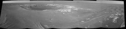This view of 'Intrepid' crater, about 20 meters (66 feet) in diameter, is a mosaic of images taken by the navigation camera on NASA's Mars Exploration Rover Opportunity. The view spans 180 degrees and is centered toward the east.