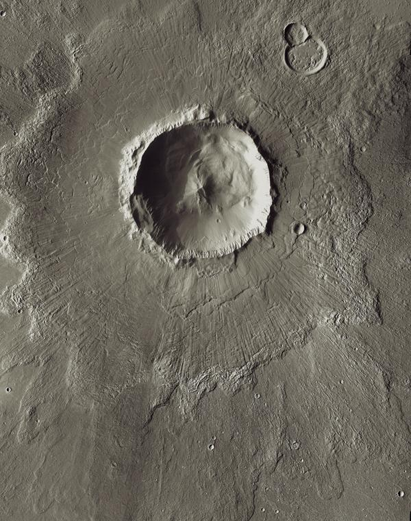 Bacolor Crater is a magnificent impact feature about 20 kilometers (12 miles) wide. This image is part of an 'All Star' set marking the occasion of NASA's Mars Odyssey as the longest-working Mars spacecraft in history.