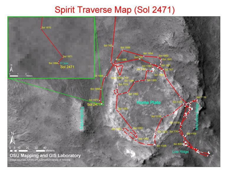 This map shows the path that NASA's Mars Exploration Rover Spirit followed from the 743rd Martian day (Feb. 4, 2009), or sol, to Sol 2471 (Dec. 15, 2010). Spirit has been at a sand-trap location called 'Troy' since April 2009.
