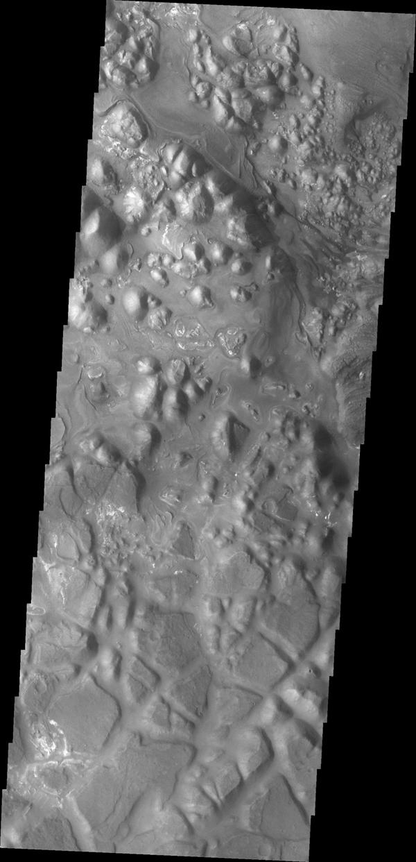 This image from NASA's Mars Odyssey shows part of the eastern region of Aram Chaos.