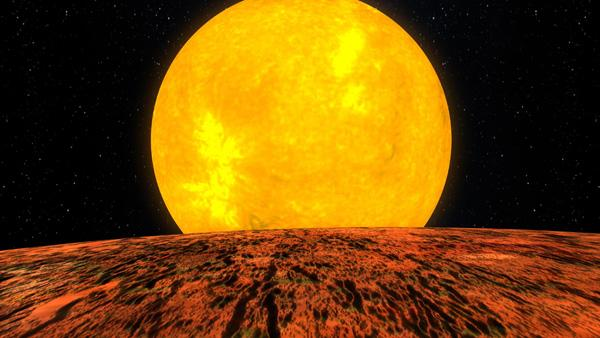Artist's concept of the first rocky world discovered by NASA's Kepler mission. The planet, called Kepler 10-b, is shown in front of its host star.