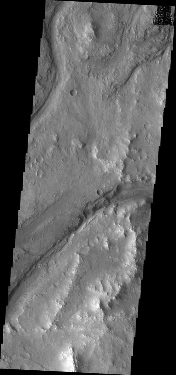Maumee Valles is the main channel visible in this image captured by NASA's Mars Odyssey.