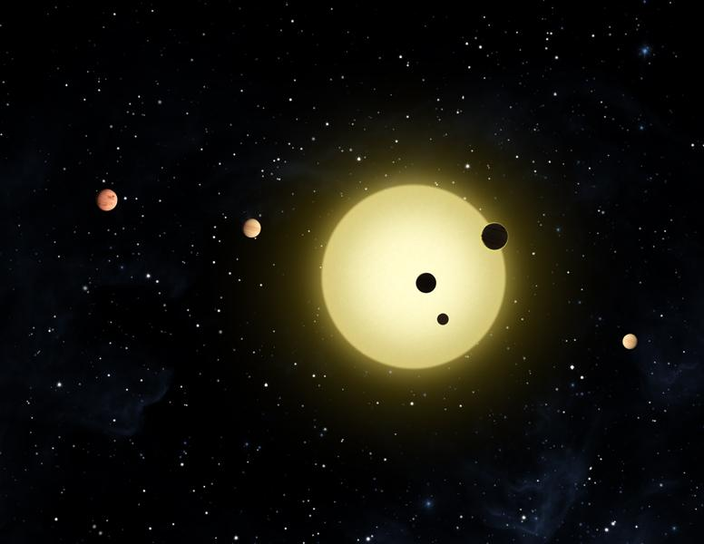 This artist's concept shows Kepler-11 -- the most tightly packed planetary system yet discovered.