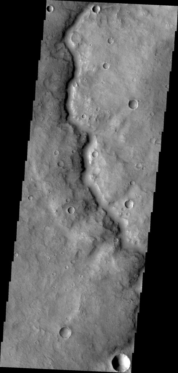 This unnamed channel is located in Arabia Terra, southwest of Meridiani Planum as seen by NASA's Mars Odyssey.