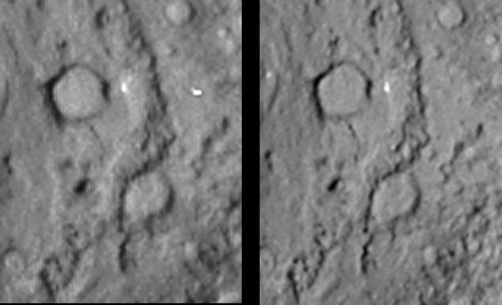 This pair of images shows the before-and-after comparison of the part of comet Tempel 1 that was hit by the impactor from NASA's Deep Impact spacecraft.