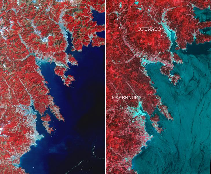 This before-and-after image pair acquired by NASA's Terra spacecraft of the Japan coastal cities of Ofunato and Kesennuma reveals changes to the landscape that are likely due to the effects of the tsunami on March 11, 2011. The new image is on the left.