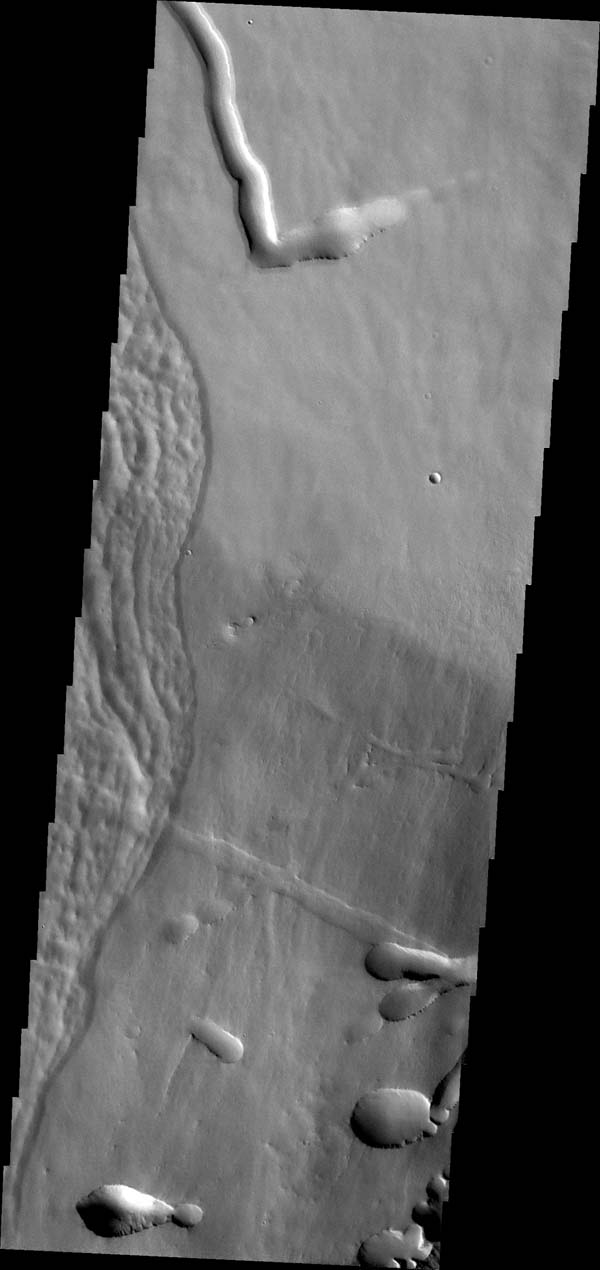 This image captured by NASA's Mars Odyssey shows a portion of the flank of Pavonis Mons.