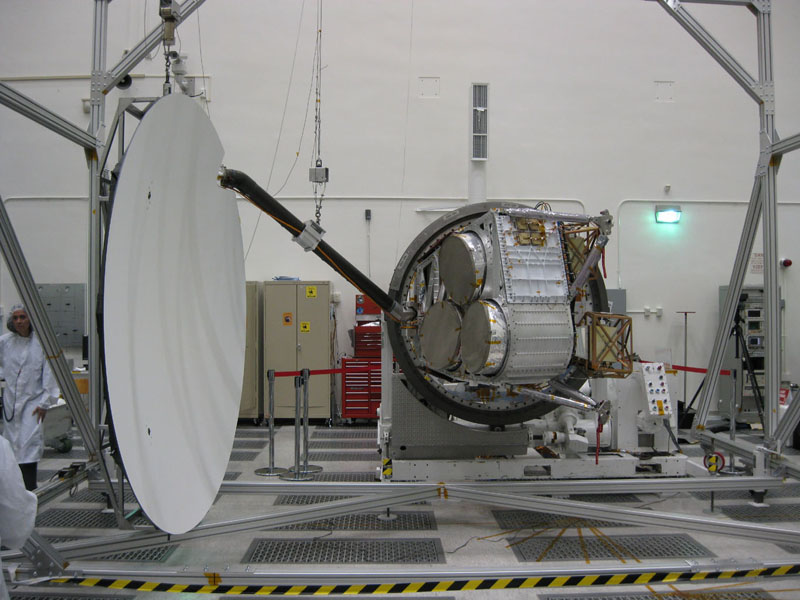 Aquarius reflector deployment is tested in the clean room at NASA's Jet Propulsion Laboratory in Pasadena, Calif.
