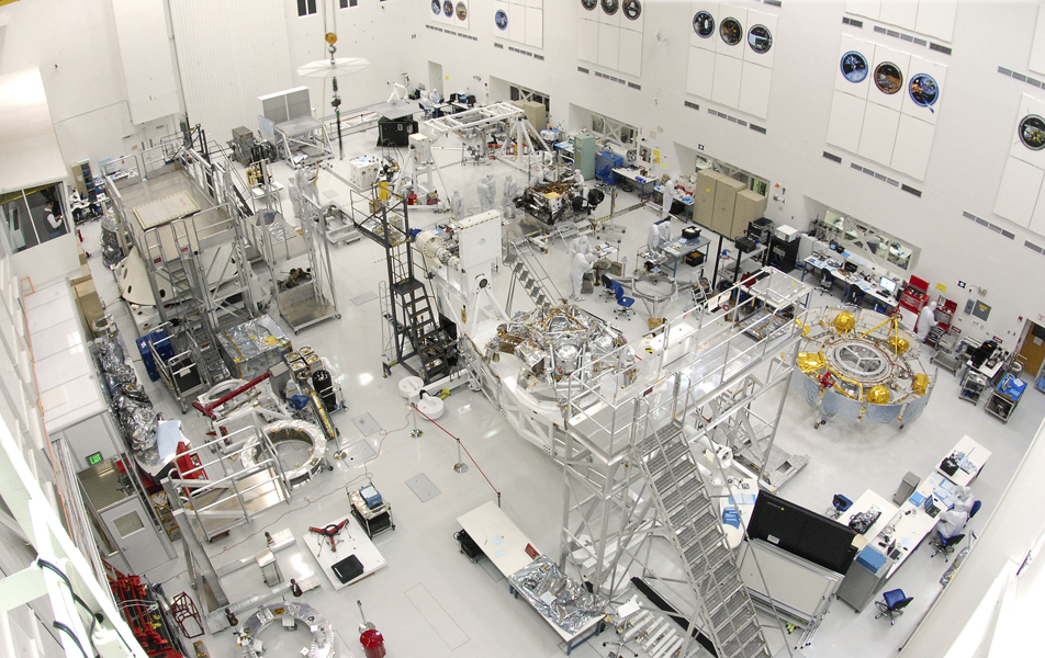 This wide-angle view shows the High Bay 1 cleanroom inside the Spacecraft Assembly Facility at NASA's Jet Propulsion Laboratory, Pasadena, Calif. Specialists are working on components of NASA's Mars Science Laboratory spacecraft.
