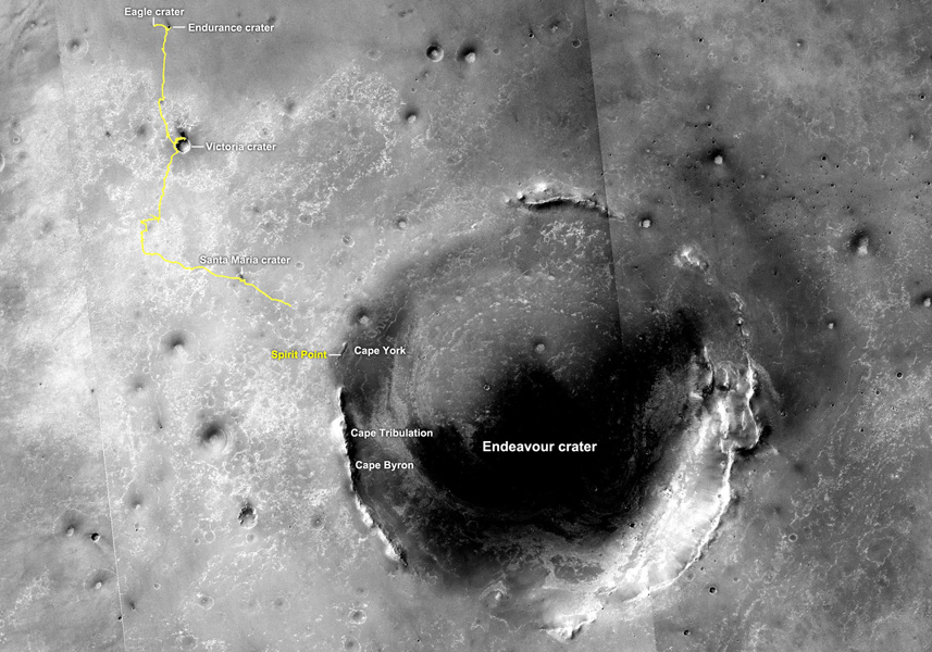 The yellow line on this map shows where NASA's Mars Rover Opportunity has driven from the place where it landed in January 2004, inside Eagle crater, upper left end of track, to a point about 2.2 miles away from reaching the rim of Endeavour crater.