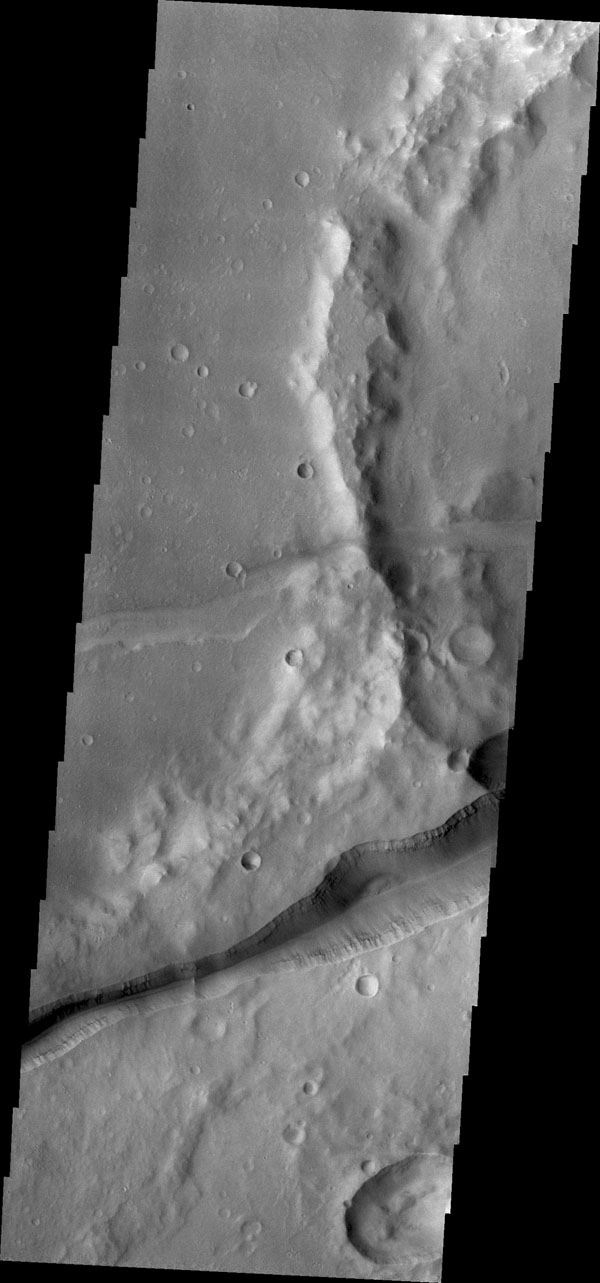Huge fractures cutting through the surface of Terra Sirenum are called Memnonia Fossae. The term fossa(e) means linear depression. This image is from NASA's 2001 Mars Odyssey.