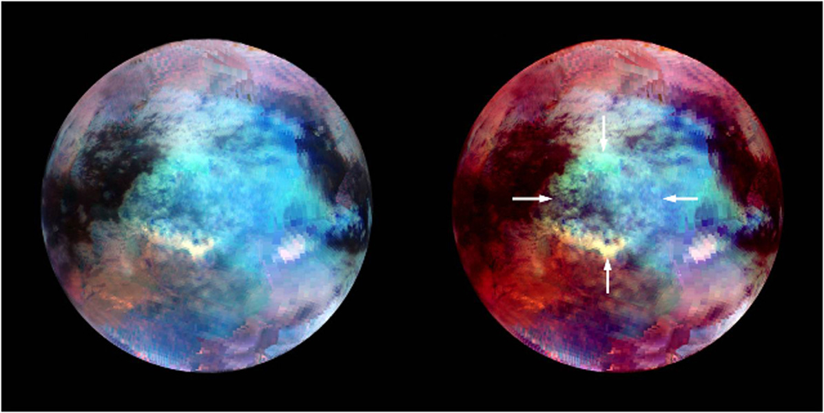 NASA's Cassini spacecraft obtained these false-color images of a circular feature in a region known as Xanadu on Saturn's moon Titan. The images show Titan in infrared wavelengths of radiation.