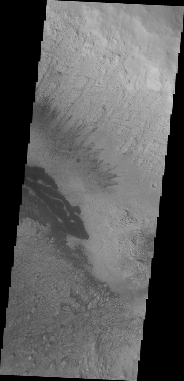 The dark material in this VIS image of Danielson Crater are dunes at the foot of the fill material located on the southwestern end of the crater floor.