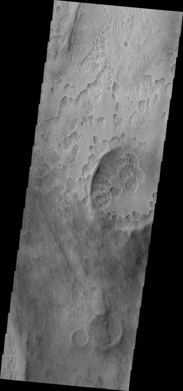 The unusual shallow, scalloped depressions in this image from NASA's 2001 Mars Odyssey spacecraft are located on the margin Peneus Patera, south of Hellas Planitia. It may be that volatiles, such as ice, are involved in the formation of these depressions.
