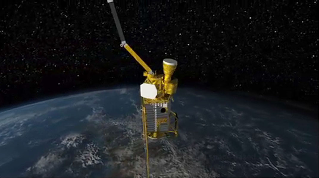 This image, created at the Jet Propulsion Laboratory (JPL), shows the Soil Moisture Active Passive (SMAP) mission, specifically depicting how the scanning antenna will fly in space and the swath coverage over the Earth.