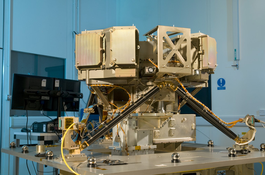 The Mid-Infrared Instrument, a component of NASA's James Webb Space Telescope, underwent alignment testing at the Science and Technology Facilities Council's Rutherford Appleton Laboratory Space in Oxfordshire, England.