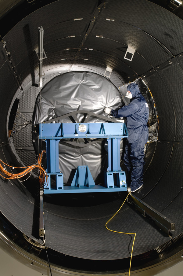 The Mid-Infrared Instrument, a component of NASA's James Webb Space Telescope, underwent testing inside the thermal space test chamber at the Science and Technology Facilities Council's Rutherford Appleton Laboratory Space in Oxfordshire, England.