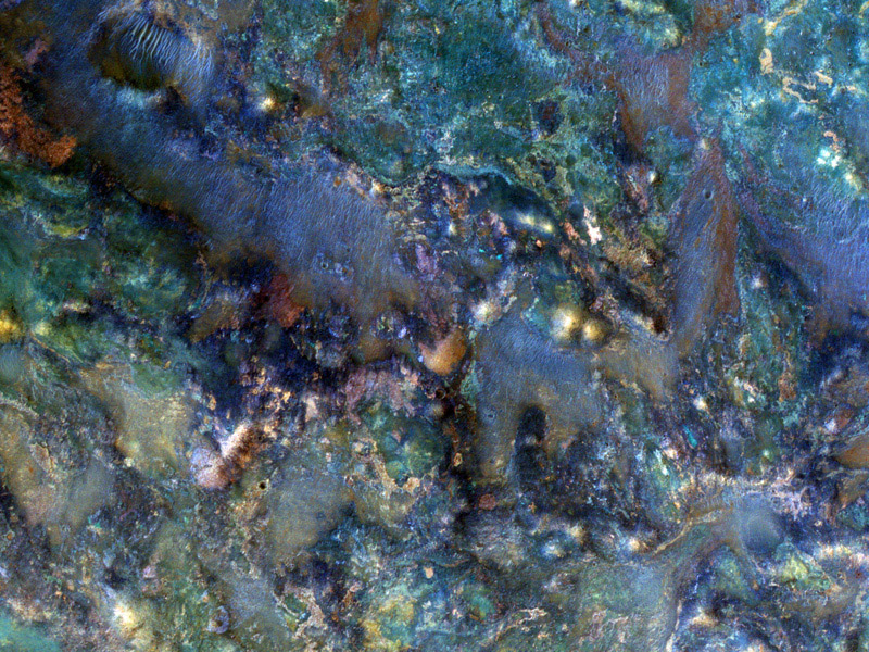 This image from NASA's Mars Reconnaissance Orbiter covers a region of Mars near Nili Fossae that contains some of the best exposures of ancient bedrock on Mars.