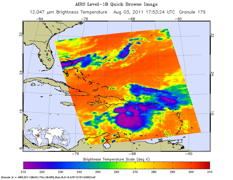 Tropical Storm Emily continues its march toward Hispaniola, which it is expected to reach later on Aug. 3. NASA's Aqua spacecraft captured this infrared image 1:53 p.m. EDT on Aug. 3, with the storm located south of Santo Domingo, Dominican Republic.