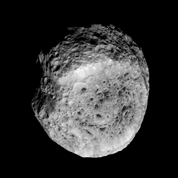 NASA's Cassini spacecraft looks at Saturn's highly irregular moon Hyperion in this view from the spacecraft's flyby of the moon on Aug. 25, 2011.