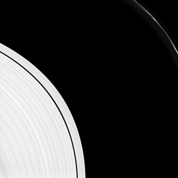 Saturn's F ring shows several 'mini-jets' near the upper-right of this image captured by NASA's Cassini spacecraft. The A ring also appears in the lower-left of the image.
