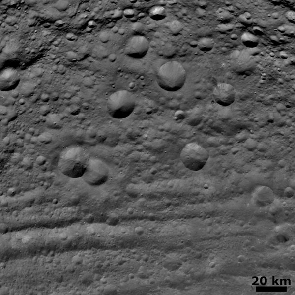 This image from NASA's Dawn spacecraft shows craters in various states of degradation on the asteroid Vesta.