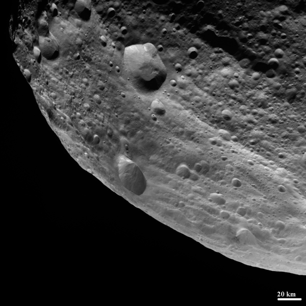 NASA's Dawn spacecraft obtained this image of the surface of asteroid Vesta with its framing camera on August 11, 2011. It was taken through the camera's clear filter. The image has a resolution of about 260 meters per pixel.