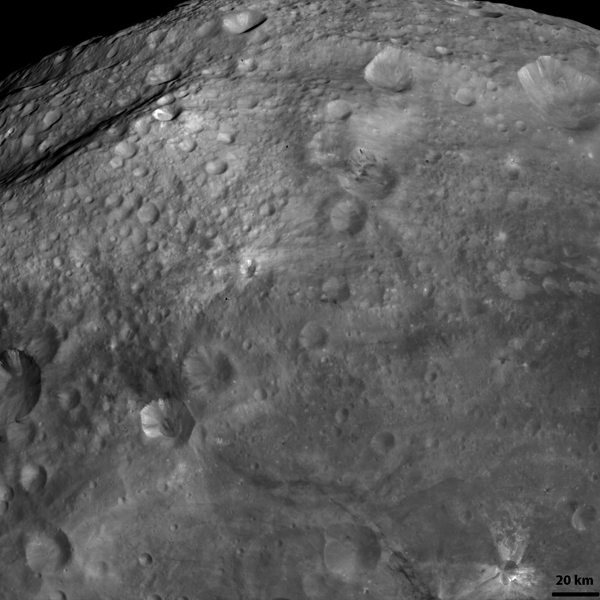 NASA's Dawn spacecraft obtained this image of a dark band on asteroid Vesta with its framing camera on August 19, 2011. The image has a resolution of about 260 meters per pixel.