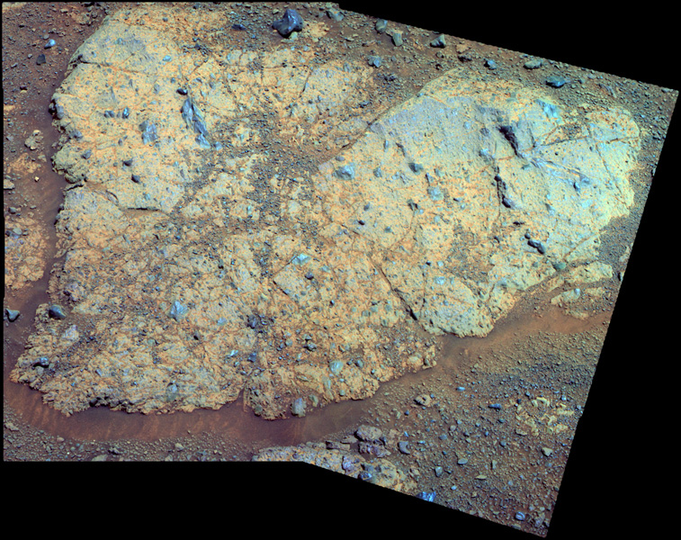 An outcrop informally named 'Chester Lake' is the second rock on the rim of Endeavour crater to be approached by NASA's Mars Exploration Rover Opportunity for close inspection. Chester Lake is about 3 feet (1 meter) across.