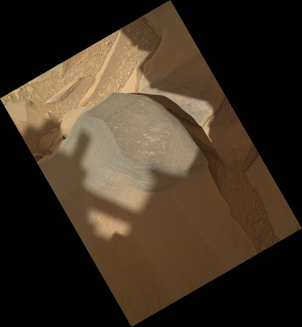 Curiosity held its MAHLI camera about 10 inches away from the top of a rock called 'Bathurst Inlet' for a set of eight images combined into this merged-focus view of the rock.