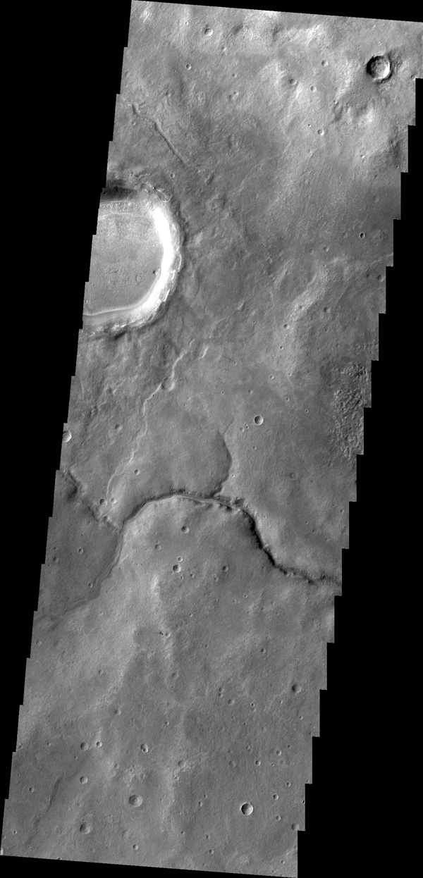 This unnamed channel drains the highland region near Pulawy Crater as seen by NASA's 2001 Mars Odyssey spacecraft.