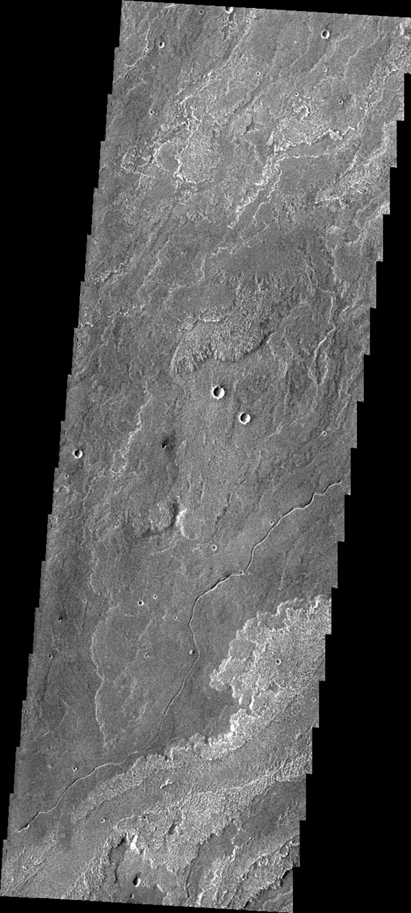 Today's image from NASA's 2001 Mars Odyssey spacecraft shows a small portion of Daedalia Planum, which is comprised of lava flows from Arsia Mons. Note the small channel in the image. This channel was likely created by lava rather than water flow.