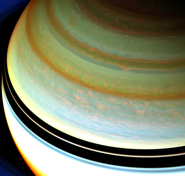A particularly strong jet stream churns through Saturn's northern hemisphere in this false-color view from NASA's Cassini spacecraft. Clouds associated with the jet stream can be seen at upper right about a third of the way down from the top.