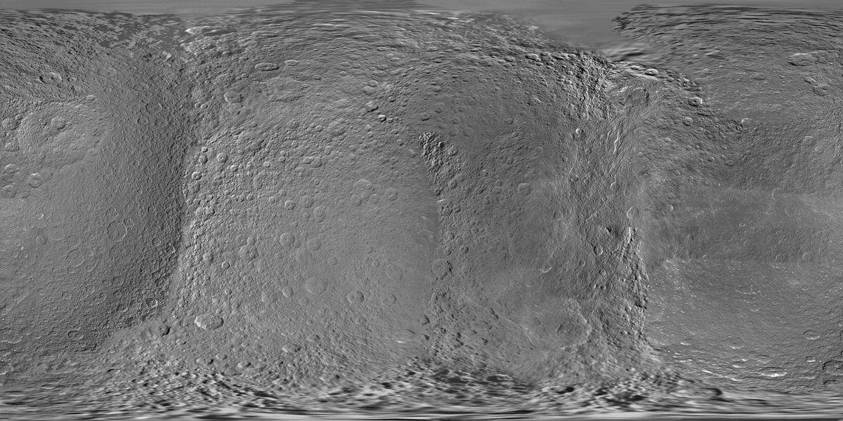 This global digital map of Rhea was created using data taken during NASA's Cassini and Voyager spacecraft flybys.