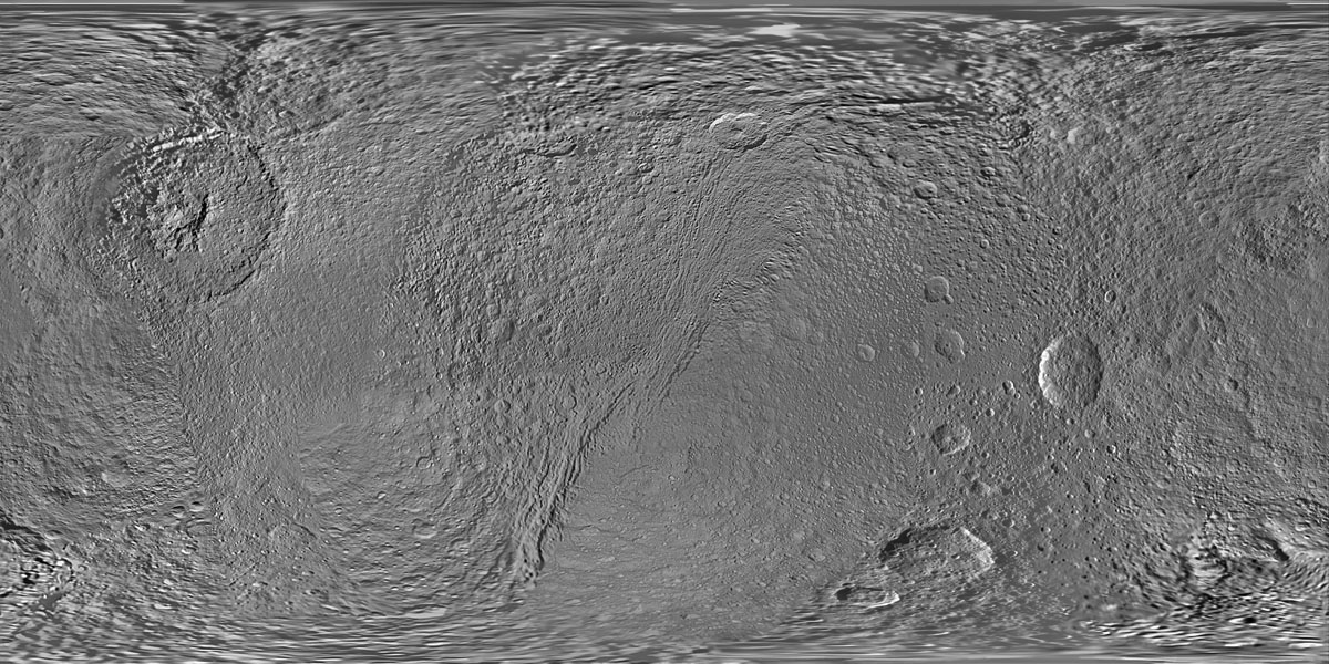 This global map of Saturn's moon Tethys was created using images taken during flybys of NASA's Cassini spacecraft.